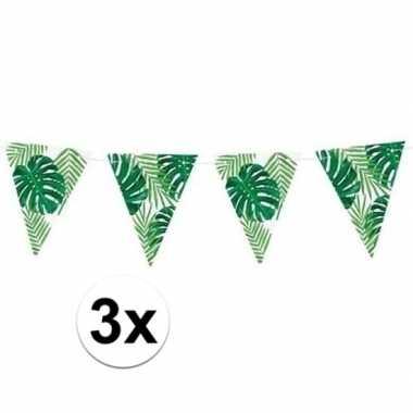 3x feest vlaggenlijnen met bladeren 150 cm