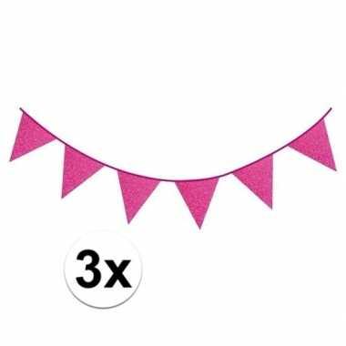 3x fuchsia roze vlaggenlijnen met glitters 6 meter