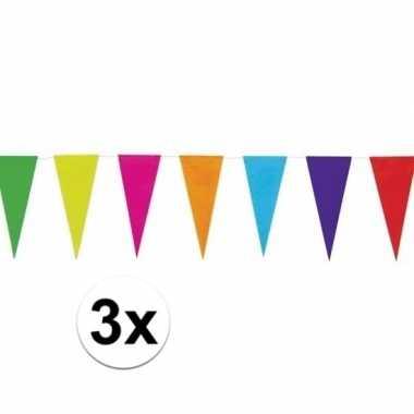 3x gekleurde papieren vlaggenlijn 10 mtr