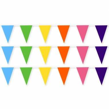 3x gekleurde slinger van stof 10 meter feestversiering