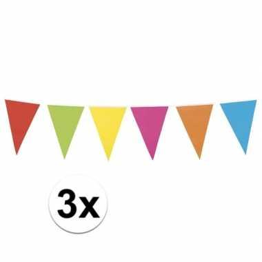 3x gekleurde vlaggenlijn 10 meter