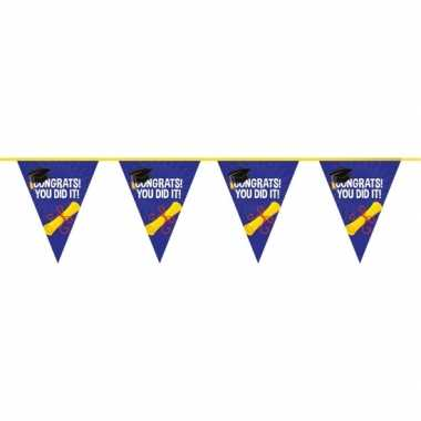 3x geslaagd/afgestudeerd puntvlaggenlijn/slinger 10 meter feestversie