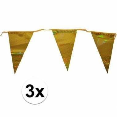 3x gouden vlaggenlijn 3 meter met 12 glimmende gouden vlaggetjes