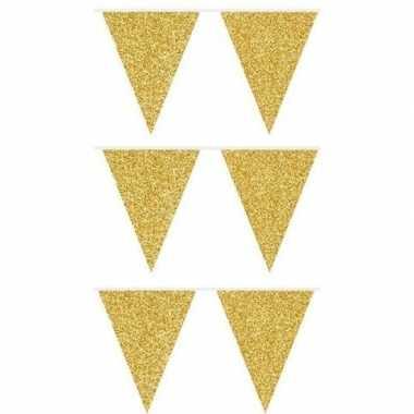 3x gouden vlaggenlijnen met glitters 6 meter