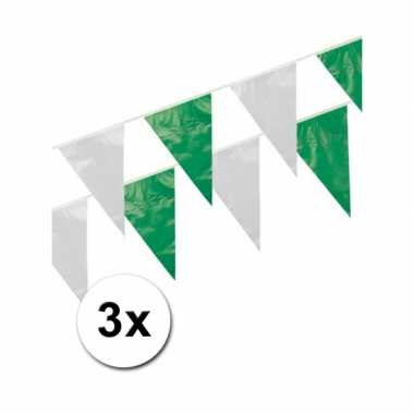 3x Groen/wit vlaggenlijnen 10 meter ps