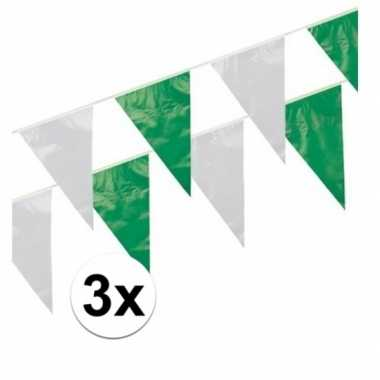 3x groen / wit vlaggenlijnen 10 meter