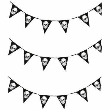 3x halloween vlaggenlijnen met schedels 360 cm