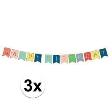 3x happy birthday feest slinger 175 cm