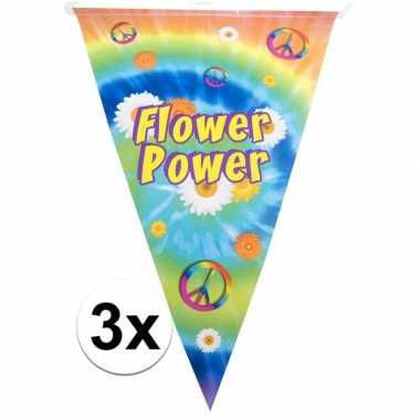 3x hippie feest vlaggenlijn flower power 5 meter
