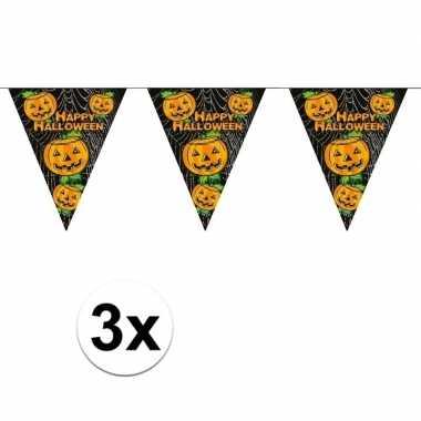 3x horror vlaggenlijnen met pompoenen