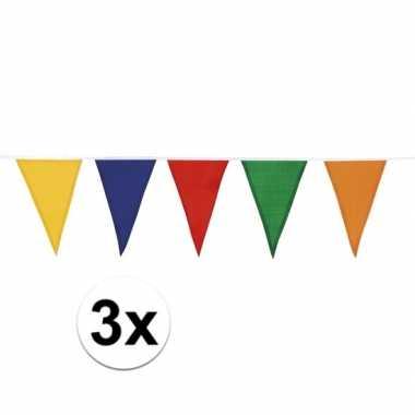 3x katoenen vlaggenlijn gekleurd 10 meter