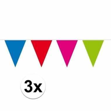 3x mini vlaggetjeslijn / gekleurde slingers 300 cm