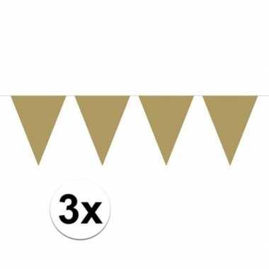 3x mini vlaggetjeslijn / gouden slingers 300 cm