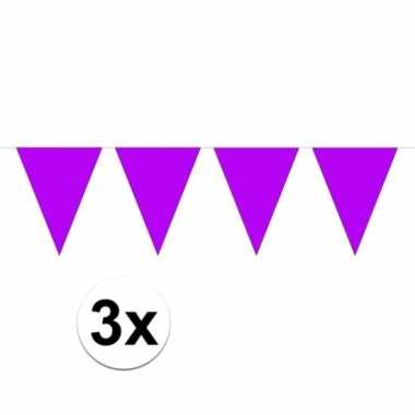 3x mini vlaggetjeslijn slingers paars 300 cm