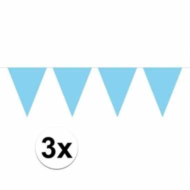 3x mini vlaggetjeslijn slingers verjaardag baby blauw