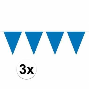3x mini vlaggetjeslijn slingers verjaardag blauw
