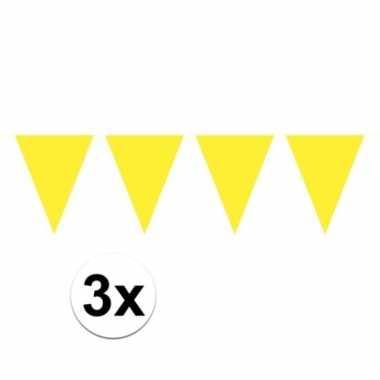 3x mini vlaggetjeslijn slingers verjaardag geel