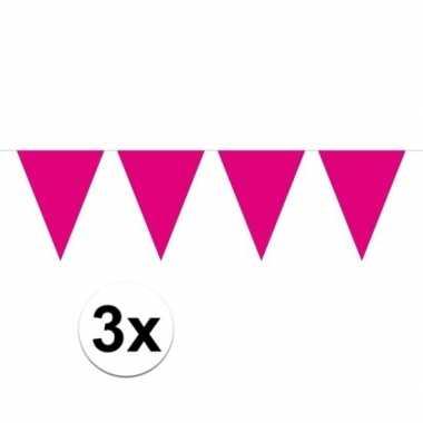 3x mini vlaggetjeslijn slingers verjaardag magenta roze