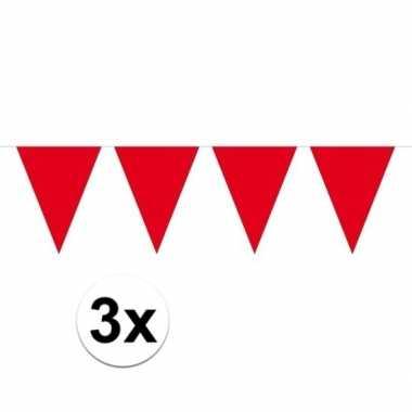 3x mini vlaggetjeslijn slingers verjaardag rood