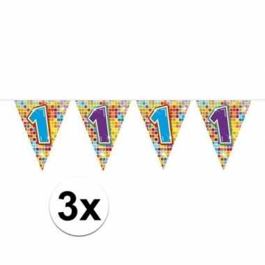 3x mini vlaggetjeslijn slingers verjaardag versiering 1 jaar