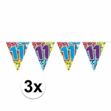 3x mini vlaggetjeslijn slingers verjaardag versiering 11 jaar