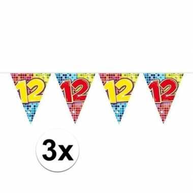 3x mini vlaggetjeslijn slingers verjaardag versiering 12 jaar