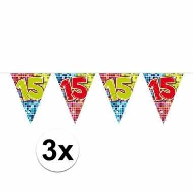 3x mini vlaggetjeslijn slingers verjaardag versiering 15 jaar