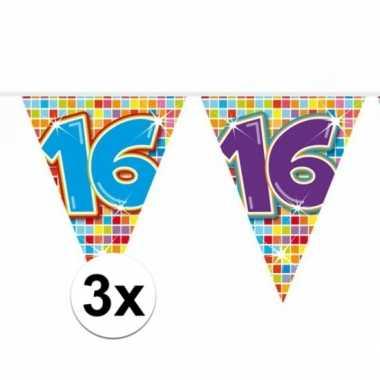 3x mini vlaggetjeslijn slingers verjaardag versiering 16 jaar