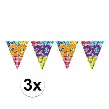 3x mini vlaggetjeslijn slingers verjaardag versiering 20 jaar
