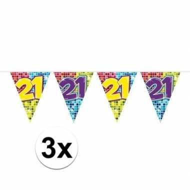 3x mini vlaggetjeslijn slingers verjaardag versiering 21 jaar
