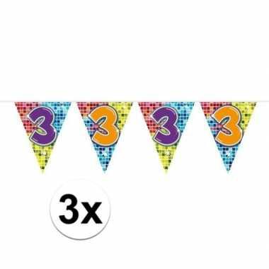 3x mini vlaggetjeslijn slingers verjaardag versiering 3 jaar