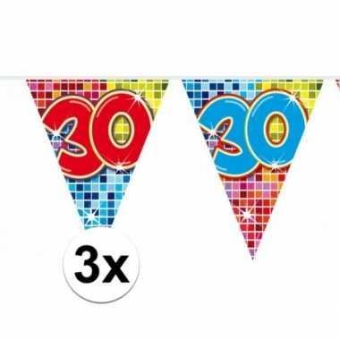 3x mini vlaggetjeslijn slingers verjaardag versiering 30 jaar