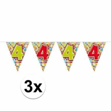 3x mini vlaggetjeslijn slingers verjaardag versiering 4 jaar