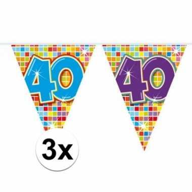 3x mini vlaggetjeslijn slingers verjaardag versiering 40 jaar