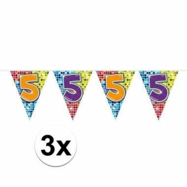 3x mini vlaggetjeslijn slingers verjaardag versiering 5 jaar
