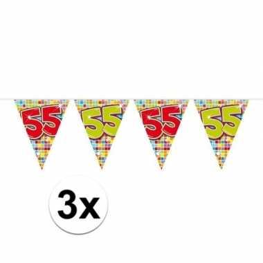 3x mini vlaggetjeslijn slingers verjaardag versiering 55 jaar