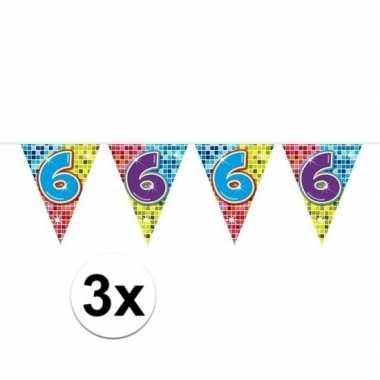 3x mini vlaggetjeslijn slingers verjaardag versiering 6 jaar