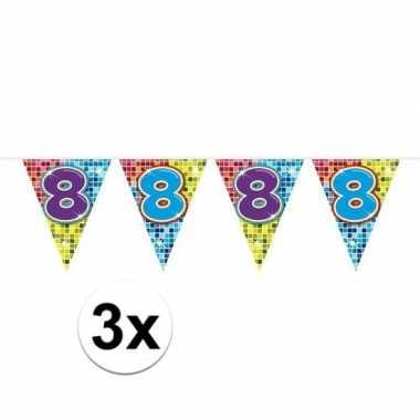 3x mini vlaggetjeslijn slingers verjaardag versiering 8 jaar