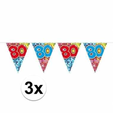 3x mini vlaggetjeslijn slingers verjaardag versiering 80 jaar