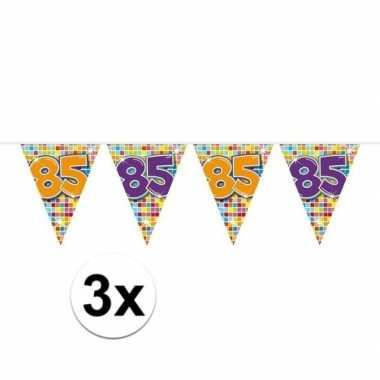 3x mini vlaggetjeslijn slingers verjaardag versiering 85 jaar