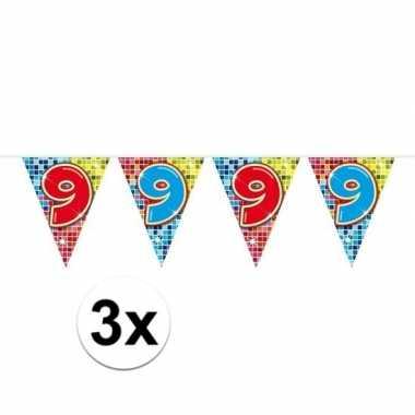 3x mini vlaggetjeslijn slingers verjaardag versiering 9 jaar