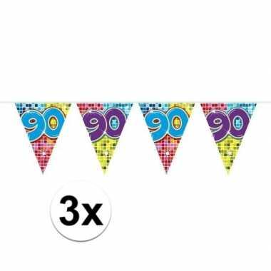 3x mini vlaggetjeslijn slingers verjaardag versiering 90 jaar