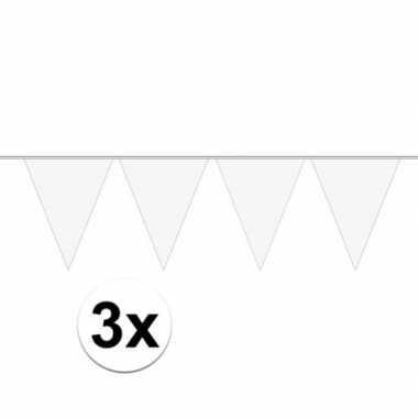 3x mini vlaggetjeslijn slingers verjaardag wit