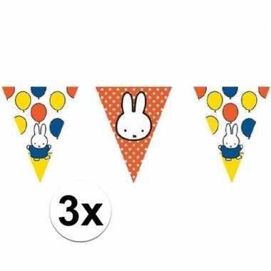 3x nijntje vlaggenlijnen versiering multi 10 meter