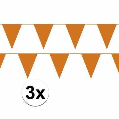 3x oranje plastic slingers 30 meter