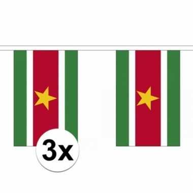 3x polyester vlaggenlijn van suriname