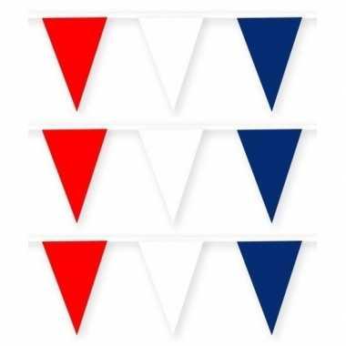 3x rode/witte/blauwe slinger van stof 10 meter feestversiering