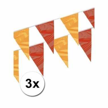 3x Rood/geel vlaggenlijnen 4 meter