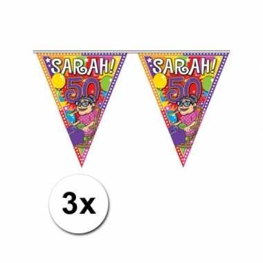 3x Sarah vlaggenlijn van plastic 10 meter