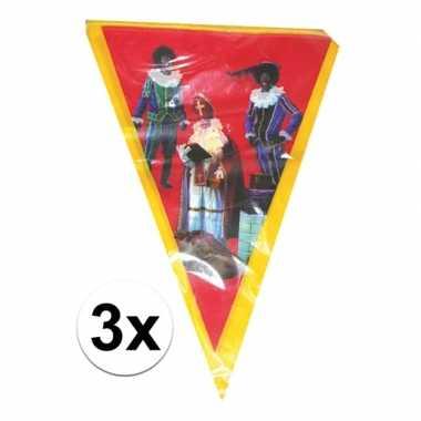 3x sinterklaas vlaggenlijn versiering 5 meter